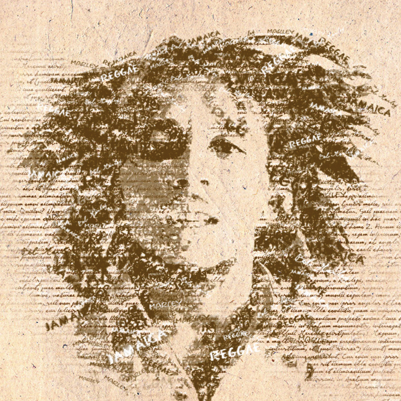 illustration Bob marley typographie